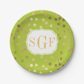 Monogrammed Lime Green and Gold Glitter Dots Paper Plate
