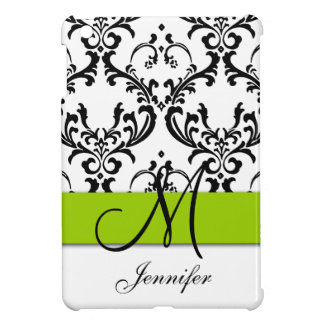 Monogrammed Lime Green Black White Swirls Damask Cover For The iPad Mini