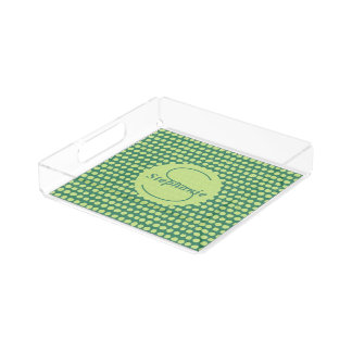 Monogrammed Lime Green Painterly Polka Dots Acrylic Tray