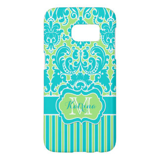 Monogrammed Lime, Turquoise, White Striped Damask