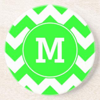 Monogrammed Lime Zig Zag Pattern Coaster