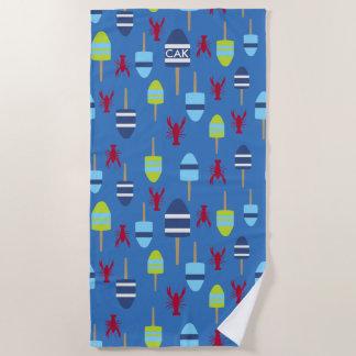 Monogrammed Lobster Buoy Nautical Beach House Fun Beach Towel