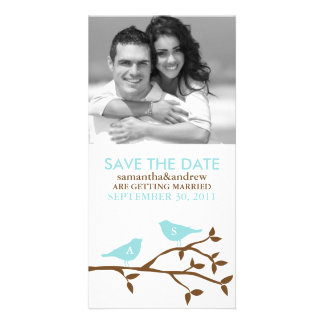 Monogrammed Love Birds Save the Date Photo Card Template