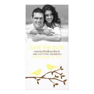 Monogrammed Love Birds Save the Date Photocards Picture Card