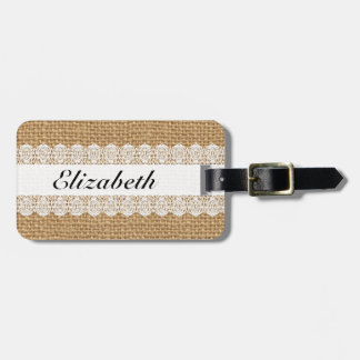 Monogrammed Luggage Tag Chic Lace and Faux Burlap