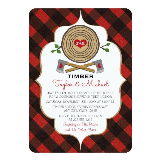 Monogrammed Lumberjack and Jill Wedding Shower Card