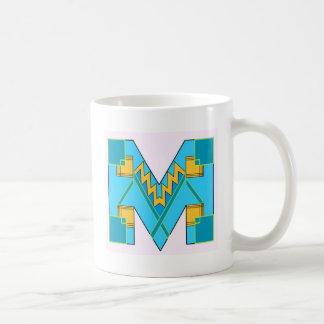 Monogrammed M Art Deco Basic White Mug