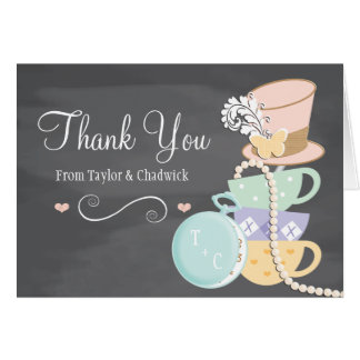 MONOGRAMMED MAD HATTER WEDDING THANK YOU CARD