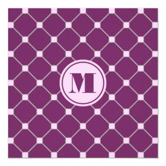 Monogrammed Magenta Purple Diamond Invitation