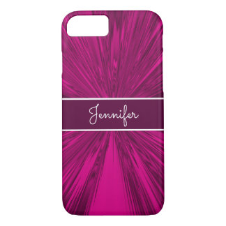 Monogrammed Magenta Satin iPhone 8/7 Case