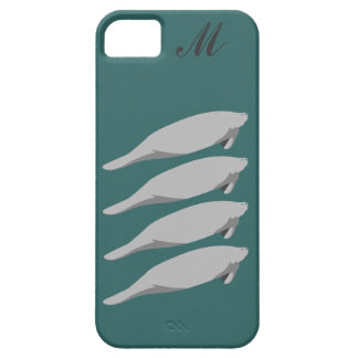 Monogrammed Manatee Multi teal iPhone 5 case