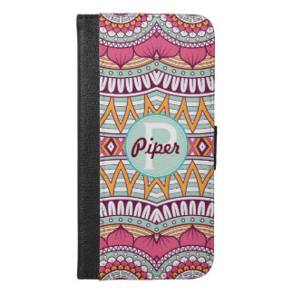 Monogrammed Mandala Pink and Mint Pattern iPhone 6/6s Plus Wallet Case