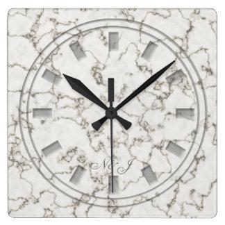 Monogrammed Marble Look Wall clock
