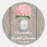 Monogrammed Mason Jar Pink Hydrangea Bridal Shower
