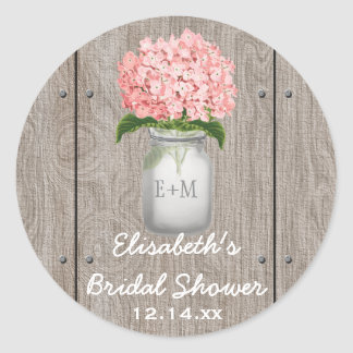 Monogrammed Mason Jar Pink Hydrangea Bridal Shower Round Sticker