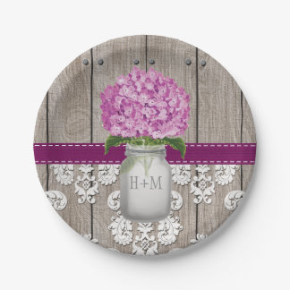 Monogrammed Mason Jar Plum Hydrangea Wedding Paper Plate