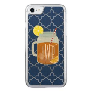 Monogrammed Mason Jar Sweet Tea - Navy Quatrefoil Carved iPhone 8/7 Case