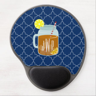Monogrammed Mason Jar Sweet Tea - Navy Quatrefoil Gel Mouse Pad