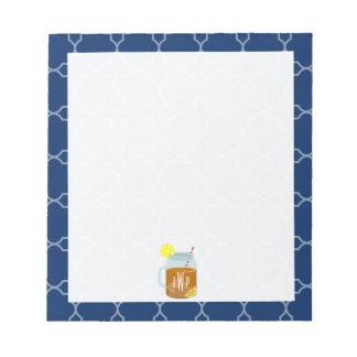 Monogrammed Mason Jar Sweet Tea - Navy Quatrefoil Memo Note Pads