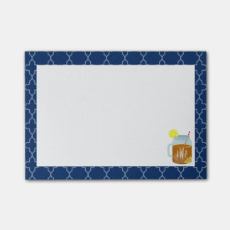 Monogrammed Mason Jar Sweet Tea - Navy Quatrefoil Sticky Note