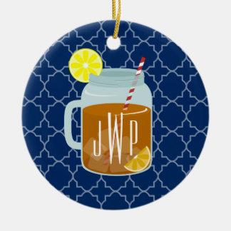 Monogrammed Mason Jar Sweet Tea - Navy Quatrefoil Round Ceramic Decoration