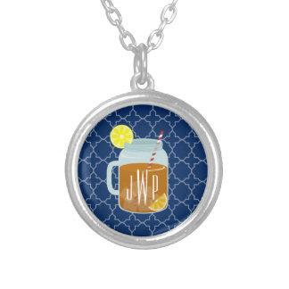 Monogrammed Mason Jar Sweet Tea - Navy Quatrefoil Silver Plated Necklace
