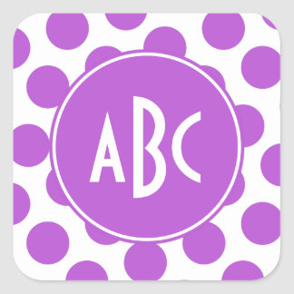 Monogrammed Medium Orchid Polka Dots Square Sticker