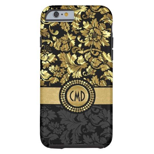 Monogrammed Metallic Black & Gold Vintage Damask Tough iPhone 6 Case