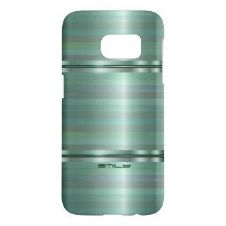 Monogrammed Metallic Green Stripes Pattern