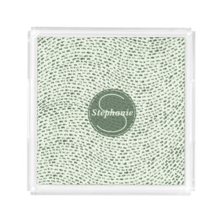 Monogrammed Mint and Army Green Dashes Acrylic Tray