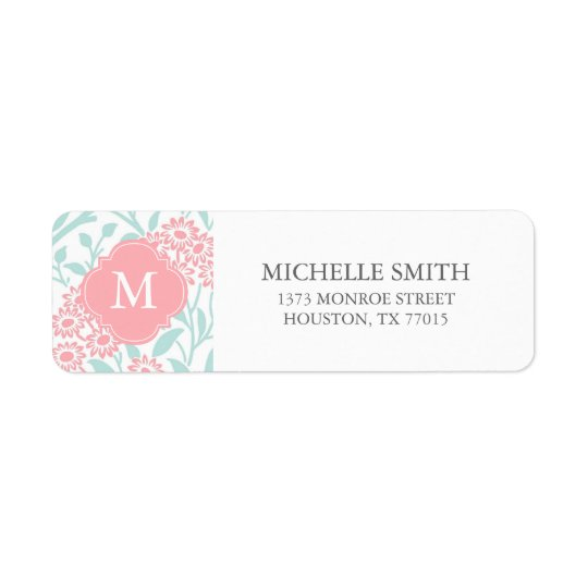 Monogrammed Mint Coral Floral Damask Pattern Return Address Label