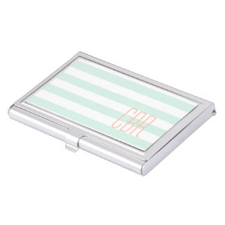 Monogrammed Mint Green Coral Horizontal Stripes Business Card Holder