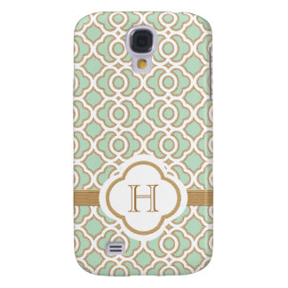 Monogrammed Mint Green Gold Moroccan Galaxy S4 Case