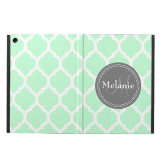 Monogrammed Mint Green  & Grey Quatrefoil iPad Air Case