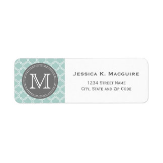 Monogrammed Mint & Grey Moroccan Tellis Return Address Label