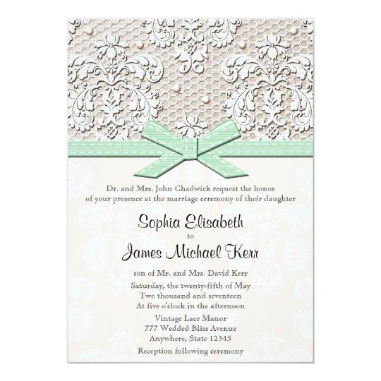 Monogrammed Mint Vintage Lace Wedding Invitations