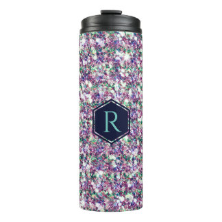 Monogrammed Modern Colorful Glitter Texture Thermal Tumbler