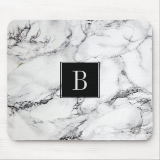 Monogrammed Modern Gray & White Marble Texture Mouse Pad