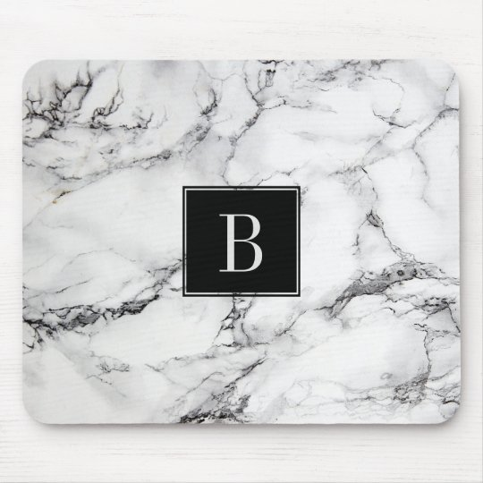 Monogrammed Modern Grey & White Marble Texture Mouse Mat