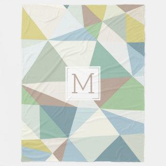 Monogrammed Modern Pastel Geometric Design Fleece Blanket