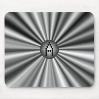 Monogrammed Modern Stylish Black White Silver Mouse Mat