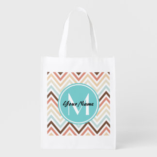 Monogrammed Modern Trendy Chevron Pattern Gifts Reusable Grocery Bag