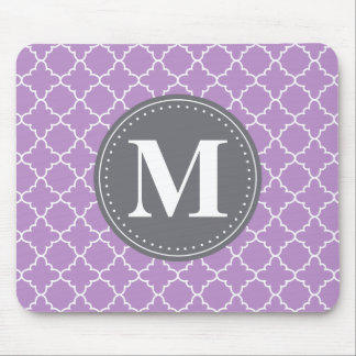 Monogrammed Moroccan Lattice in Lilac / Gray Mouse Mat
