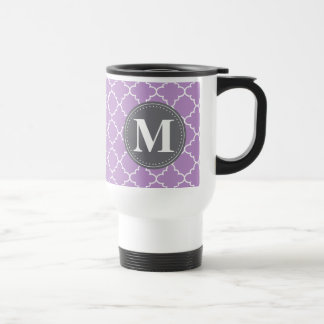 Monogrammed Moroccan Lattice in Lilac / Gray Travel Mug