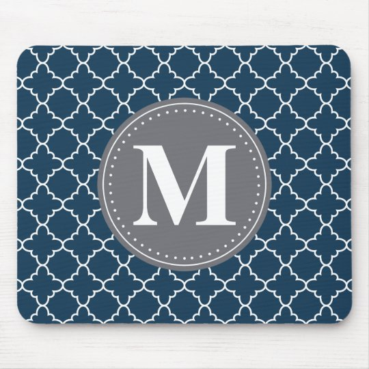 Monogrammed Moroccan Lattice in Navy / Grey Mouse Mat