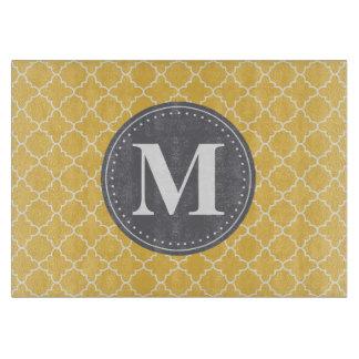 Monogrammed Moroccan Lattice in Yellow / Gray Cutting Board