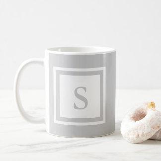 Monogrammed Mug - Grey & White