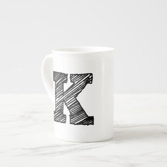 """Monogrammed Mug: Letter """"K"""" Tea Cup"""