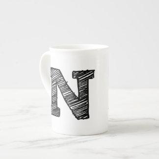 "Monogrammed Mug: Letter ""N"" Tea Cup"