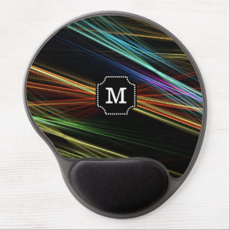 Monogrammed Multicolor Abstract lines Pattern Gel Mouse Pad